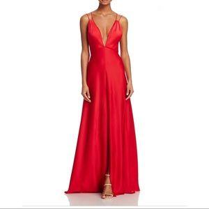 Red Satin Aidan Mattox Gown